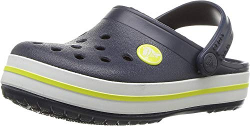 Crocs Kids' Crocband Clog, Navy/Citrus, 7 M US Toddler