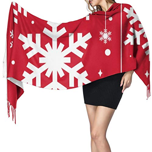 Invierno Copos de Nieve Rojo Mujer Caliente Largo Chal Envolturas Grandes Bufandas Sensación de Cachemira Largo Chal Bufanda