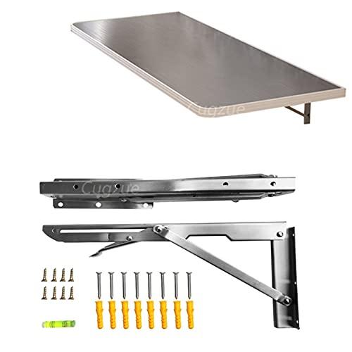 YAHAO Mesa de comedor montada en la pared, mesa plegable de acero inoxidable 304 que cuelga la pared de la mesa de comedor de la operación de pared perforada que cuelga la mesa, 80x40cm