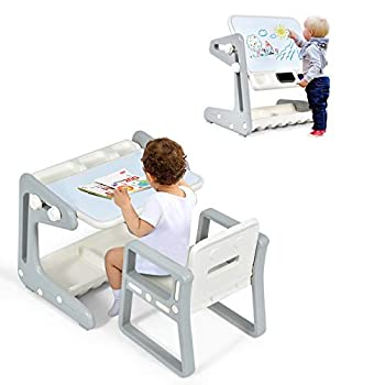 Costzon 2 in 1 Kids Table & Chair Art Easel w/Adjustable Magnetic Painting Board Storage Space Art Supply Accessory Children Convertible Activity Table Set for Drawing Reading Art Playroom  Gray