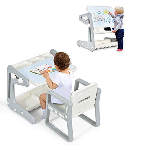 Costzon 2 in 1 Kids Table & Chair, Art Easel w/Adjustable Magnetic Painting Board, Storage Space, Art Supply Accessory, Children Convertible Activity Table Set for Drawing Reading Art Playroom (Gray)