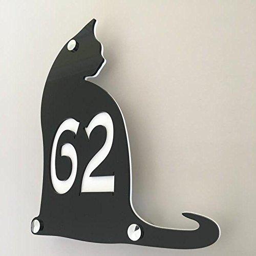 Servewell - Targa con numero civico a forma di gatto, finitura lucida, 24 x 21 cm, con carattere arrotondato
