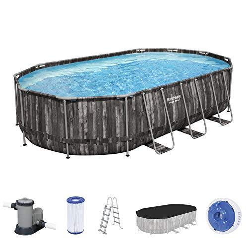 Bestway Power Steel Frame Pool, 610 x 366 x 122 cm, Komplett-Set mit Filterpumpe, oval, Holz-Optik