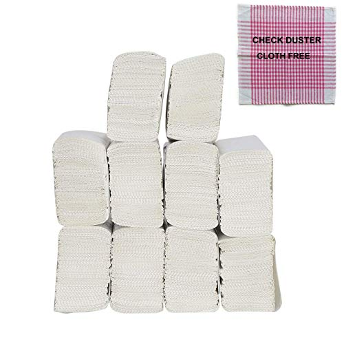 Dhwani Enterprise M Fold Tissue Paper - 1300 Piece (WITH CHECK DUSTER CLOTH FREE) PACK OF 10 Packets