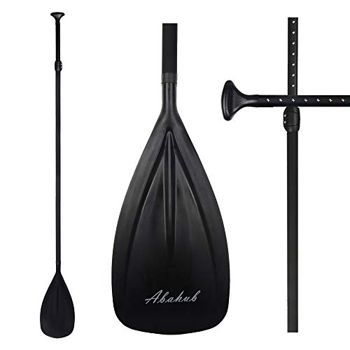 Abahub 3-Piece Adjustable Alloy Stand Up SUP Paddle Aluminum Shaft Black Plastic Blade