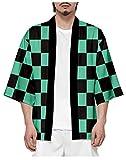 Silver Basic Kimono para Hombre Demon Slayer Kimetsu No Yaiba Chaqueta Pen Botton KoatXXS,922Verde-4…