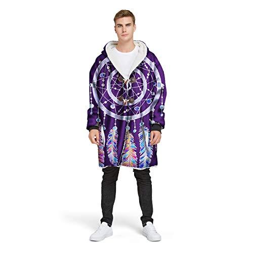 NAID deken met capuchon violet met 3D-mouwen Dreamcatcher bedrukte deken verdikbaar deken unisex met knoopte jas