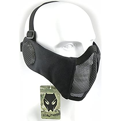 Mascarilla protectora de malla inferior de nailon con cubierta para la oreja de Worldshopping4U, Tactical Airsoft CS, BK