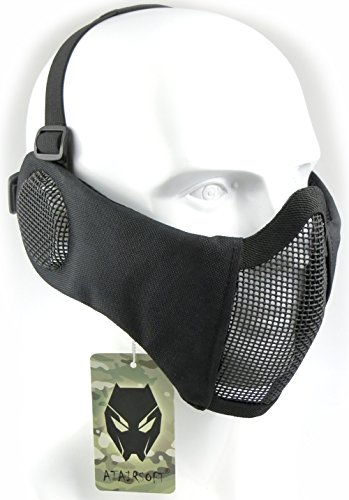 ATAIRSOFT Tactical Airsoft CS Protective Lower Guard Mesh Nylon Half Face Protection with Ear Cover