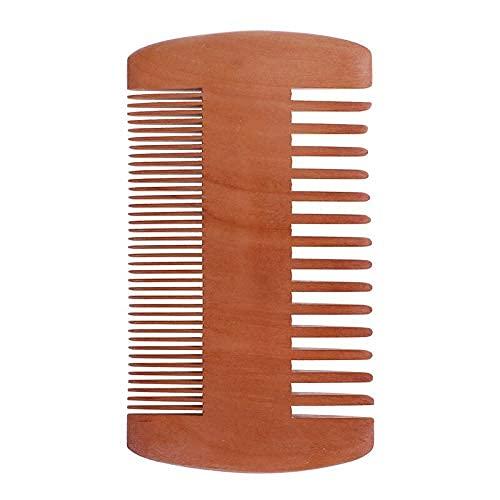 YNHNI Peine de madera 1 peine de madera antiestático para barba con dientes finos gruesos para barba, bigotes y barba