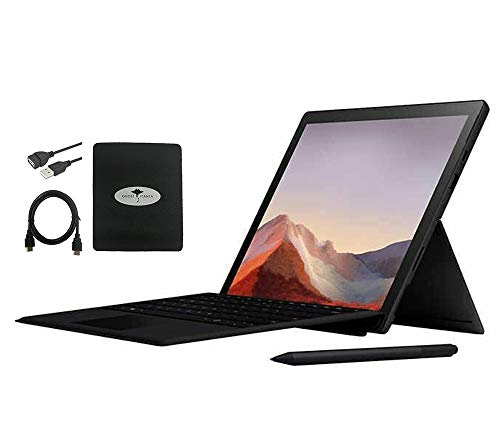 """2020 Newest Microsoft Surface Pro 7 12.3"""" Touchscreen Laptop Notebook, 10th Gen Intel Core i7, 16GB RAM, 256GB SSD, Windows 10 w/Black Type Cover and Pen, Ghost Manta Accessories"""
