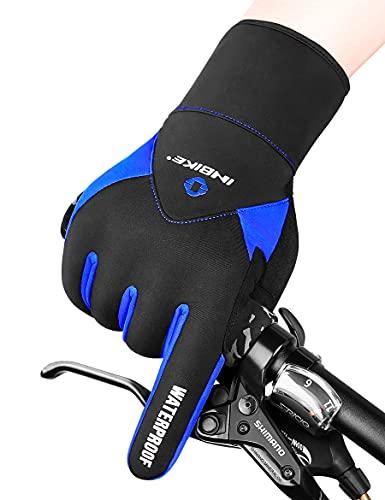 INBIKE Handschuhe Herren Damen Ski Winter Outdoor Winterhandschuhe Fahrradhandschuhe Warm Wasserdicht für Skifahren Snowboard Fahrrad und Wandern Blau XXL