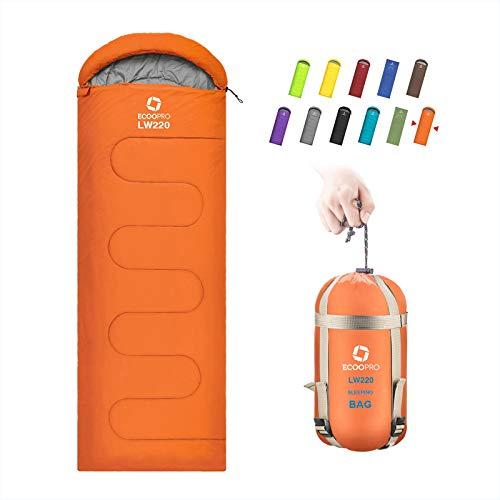 ECOOPRO - Saco de dormir para clima cálido, portátil, impermeable, compacto, ligero, cómodo con saco de compresión, ideal para acampar al aire libre, mochilero y senderismo-83 x 76 cm de largo para adultos (D-naranja)
