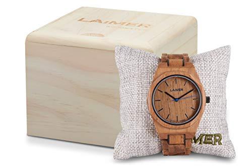 LAiMER orologio CONSTANTIN - Quarzo Uomo - Orologio analogico da polso in legno teak