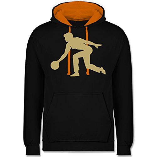 Bowling & Kegeln - Keglerin - M - Schwarz/Orange - Bowlingkugel - JH003 - Hoodie zweifarbig und Kapuzenpullover für Herren und Damen