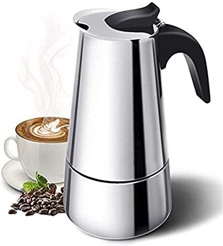 Cafetera italiana, inducción 4 tazas, hecha con material metalizado, resistente a la corrosión. Perfecta para uso doméstico y de oficina. Libre de goteo. Cafetera espresso.