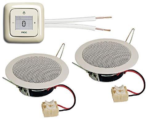 Busch Jäger Unterputz Bluetooth Radio 8217 U (8217U) cremeweiß Komplettset DURO2000 + 2 x Deckenlautsprecher/Einbaulautsprecher + Radio + Bedienelement + Rahmen + 20 m Lautsprecherkabel 2x0,75 mm²