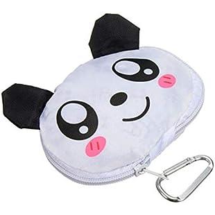 Shopping Bag Cute Cartoon Animal Portable Shopping Bag Foldable Reusable Eco Grocery Shopping Tote Bag Handbag with Hook Travel Totes Recycle Bags(Panda)