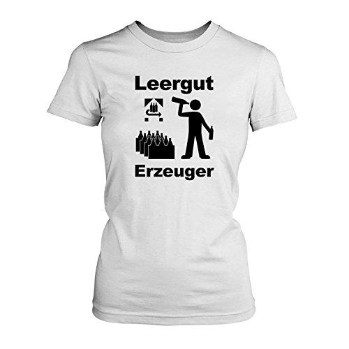 Fashionalarm Leergut Erzeuger - Damen T-Shirt Fun Shirt Spruch Spaß Bier Alkohol Party Feiern Pfand Flasche Kasten Piktogramm JGA Urlaub Reise lustig, Farbe:weiß;Größe:3XL