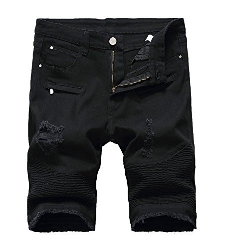 Men's Casual Zipper Biker Jeans Shorts Moto Denim Short Pants,Holes&black,32