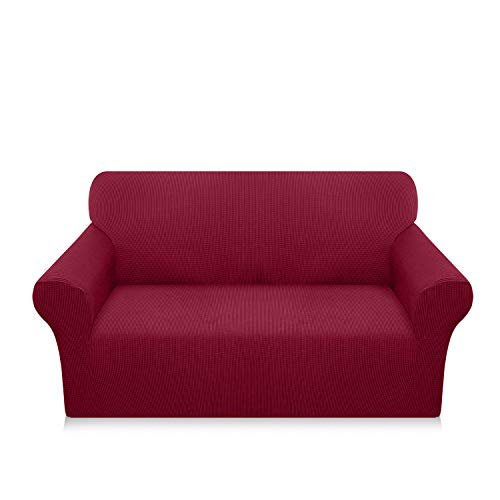 Luxurlife High Stretch Sofa Covers 2 Seater Super Soft Loveseat Cover Upgraded Modern Sofa Slipcover for Dogs Pets Furniture Protector With Elastic Bottom(2 Seater,Wine Red)