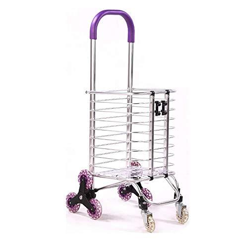 Het winkelen karretje bag Oude Aluminium handkar Folding Portable Trolley 4 Ronde Huis Climbing Stair Trolley vouwen trolley (Color : B)