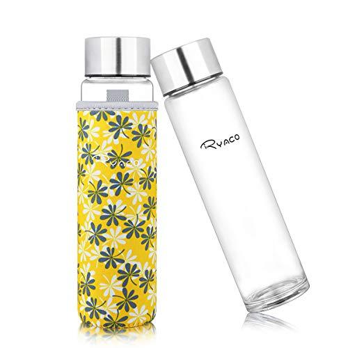 Ryaco Botella de Agua Cristal 420ml, Botella de Agua Reutilizable 14 oz, Sin BPA Antideslizante Protección Neopreno Llevar Manga y Cepillo de Esponja (420ml, Amarillo Floral)