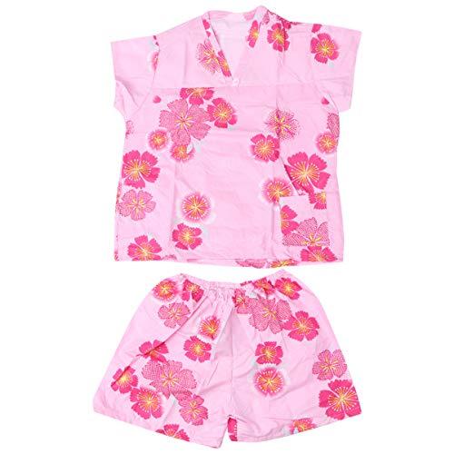 Exceart 1 Set Wegwerp Japanse Stijl Gewaden Bloempatroon Kimono Sauna's Badjassen Hotel Service Zweet Dampend Pak Nachtkleding Pyjama Voor Dames Dames Meisjes (Roze)