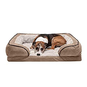Furhaven Pet Dog Bed – Orthopedic Plush Velvet Waves Perfect Comfort Traditional Sofa-Style Living Room Couch Pet Bed with Removable Cover for Dogs and Cats, Brownstone, Large