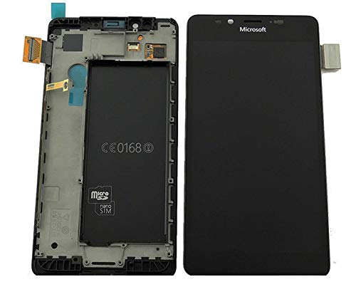 Original Microsoft / Nokia Lumia 950 & 950 DS Dual SIM LCD Display Touchscreen Touch Glas Bildschirm Komplett + Rahmen Schwarz PN: 00814K8