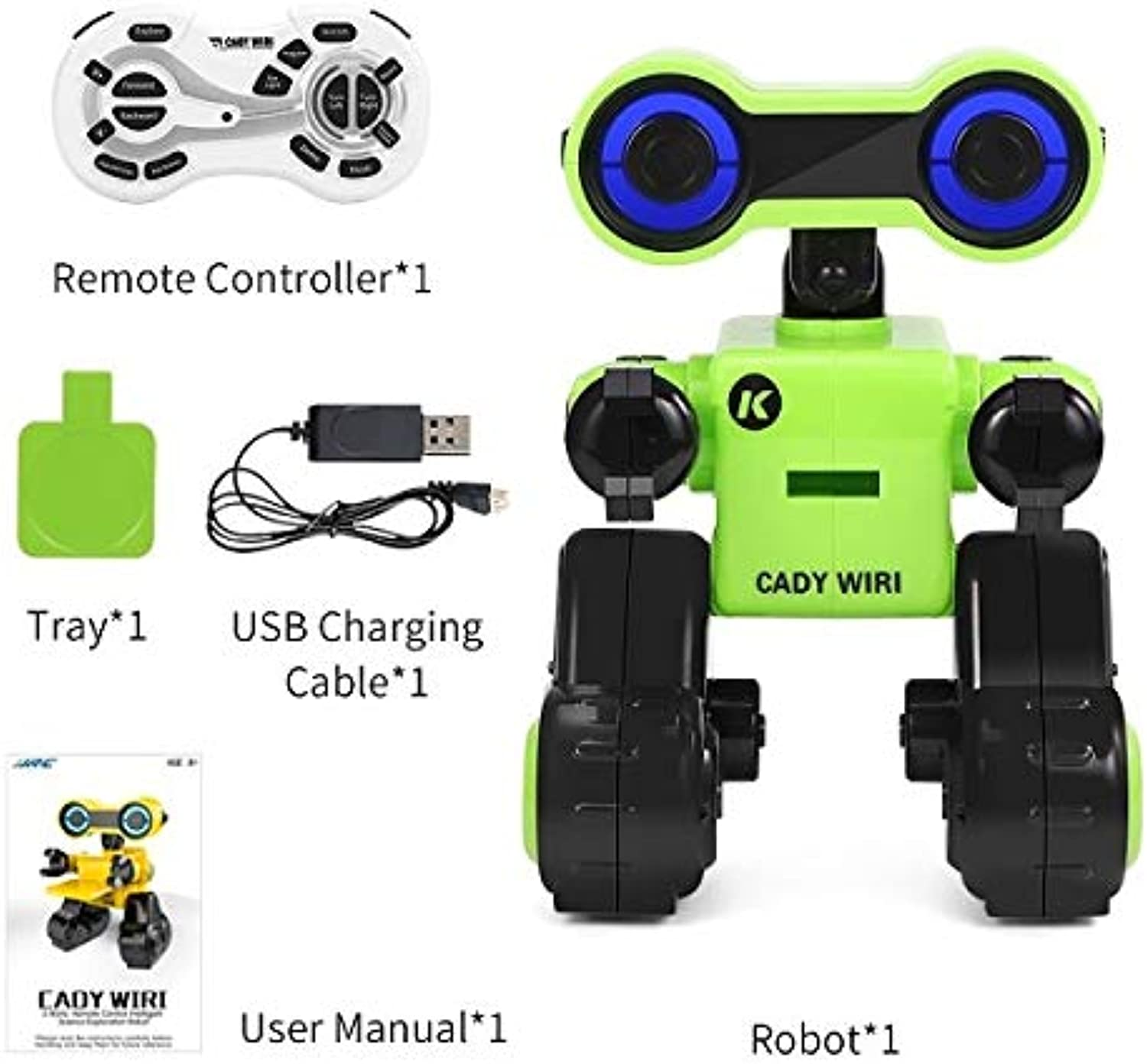 Generic JJR C R13 Cady WIRI Intelligent RC Robot Science Exploration Programmable Music Dance RC Toys for Kids Gifts Green