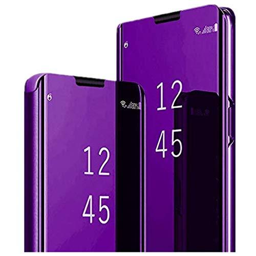 ESRB - Funda para iPhone 11 (efecto espejo, transparente, ultrafina, con función atril, piel sintética, para iPhone 11) morado M