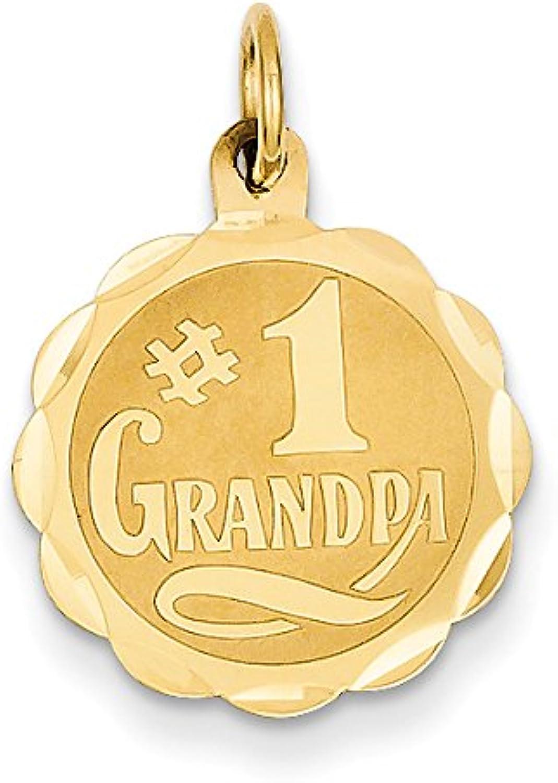 Diamond2Deal 14k Yellow gold  1 Grandpa Disc Pendant