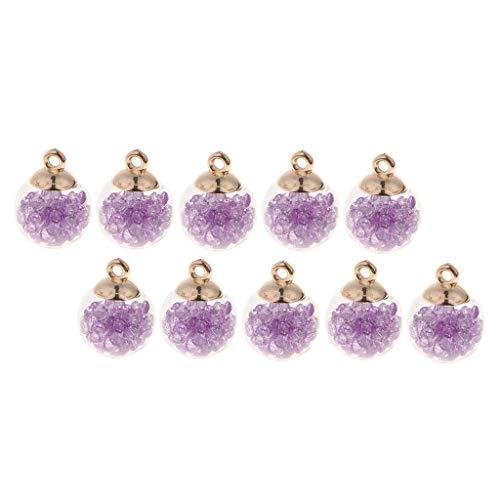 chiwanji Bola de Cristal de 10x16 Mm con Pequeñas Cuentas de Rhinesotne Encantos Colgante DIY Pendientes Lindos - Púrpura, Individual