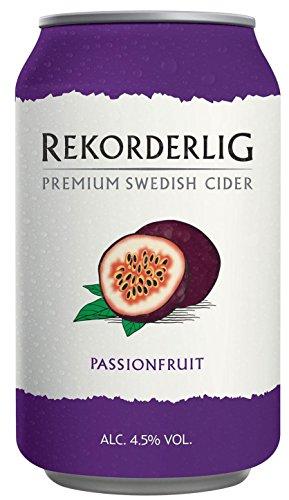 Rekorderlig - Cider - 24x0,33l Dosen in den brandneuen Sommerfarben | Set inkl. lukky24® Schlüsselanhänger für Einkaufswagenchip (Passionsfrucht 4,5% Vol)