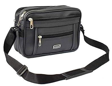 "WIDNES Men's Synthetic Messenger Bag (11"" x 8"" Black)"
