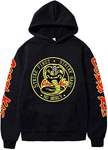 FLYCHEN Jungen Kapuzenpullover The Karate Kid Pullover Kung Fu Thema Kulturpullover Kobra Pullover Cobra Kai Hoodie Kung Fury Pullover,1231 schwarz,XS