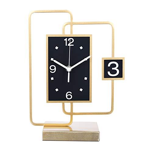 Reloj de moda Reloj de escritorio - Luz de lujo Desktop Reloj de la sala de estar Decoración de la sala de la casa Ornamentos de escritorio de la manera Soporte Reloj moderno Simple Personalidad Creat