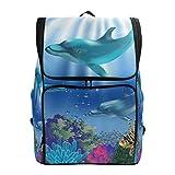 Emoya Schulranzen für Mädchen Delfin Unterwasserwelt Teenage Schulrucksack süße Büchertasche