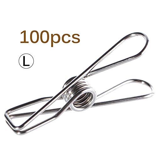 YChoice365 100er Pack Mehrzweck-Edelstahl Funktionale Winddichte Drahtstifte Wäscheklammern Edelstahl Wäsche hängende Wäscheleine Clips für Kleidung Papierfeilen