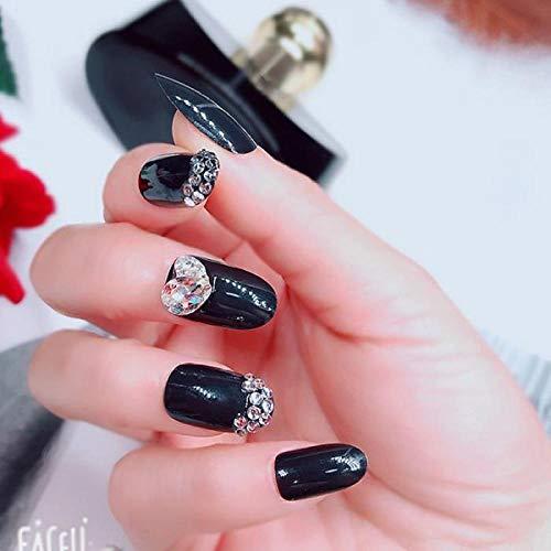 TJJF Faux ongles Mode coréenne Diamante Love Heart Press On Nails 3D Diy Nail Decorations Shiny Black Round False Nails With Glue