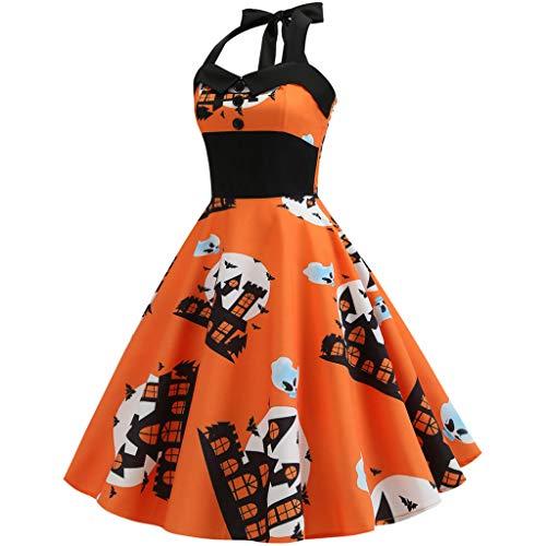 Best Deals! Women's Vintage Print Halter Halloween Evening Party Swing Dress