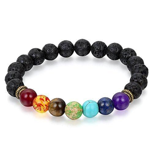 Desconocido Presenta Sataanreaper 8 Mm Perlas De Lava 7 Chakra Negro Reiki Pulsera para Hombres Y Mujeres # Sr-154