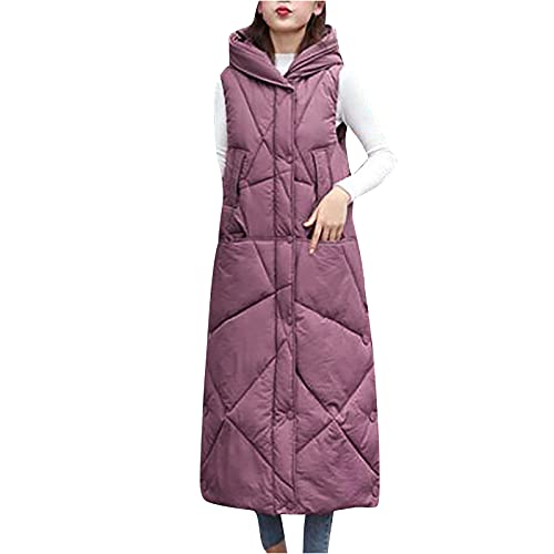 Women's Winter Coat with Hood Maxi Sleeveless Down Jacket Cold Weather Thermal Waistcoat Fashion Solid Color Outwear Pink