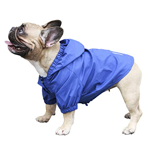 ICHOUE Dog Raincoat Lightweight Windbreaker Hooded Jacket for French bullodg Shiba Inu Frenchie Outdoor Water Resistant Coat - Blue/Size M