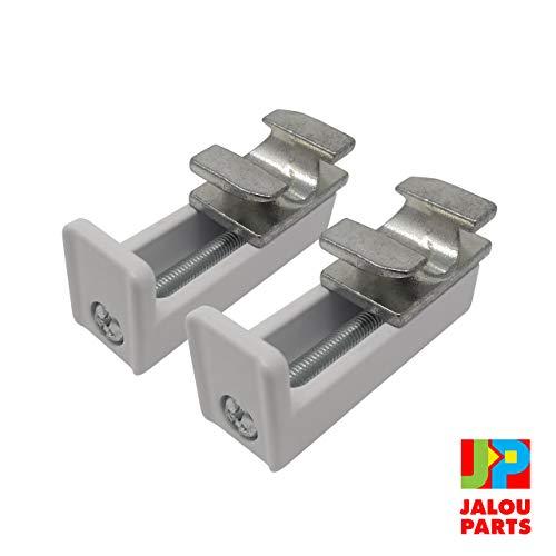 JalouParts Klemmträger für Jalousien - Rollos-Halterung aus Metall für Fenster mit Kippfunktion - Für Rahmen bis 20 mm - Einfache Befestigung durch Klemmen, ohne Bohren, Kleber oder Magnet. Stabilem Metallguss, Weiß lackiert und extrem robust - 2 Stück