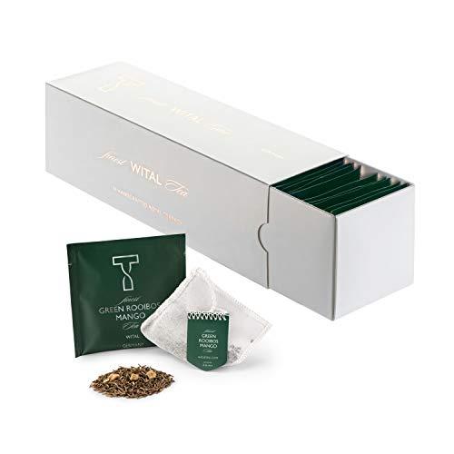 WITAL TEE - GREEN ROOBOIS MANGO - Roiboos Tee - Ganze Blätter - 50 Plastikfreie Handgenähte Teebeutel aus reiner Baumwolle