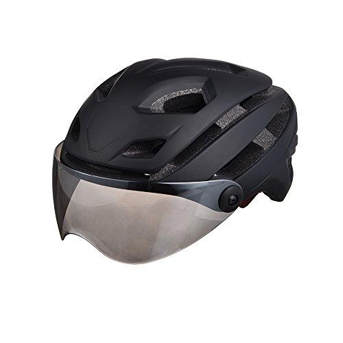 GWJ Männer/Frauen Fahrradhelm Mit Goggles Bike Racing Helm Gläser 4 Farboptionen,Black