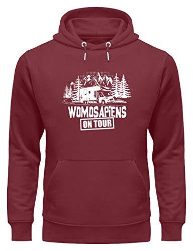 shirt-o-magic Wohnmobil: Womosapiens on Tour - Unisex Organic Hoodie -XXL-Burgundy