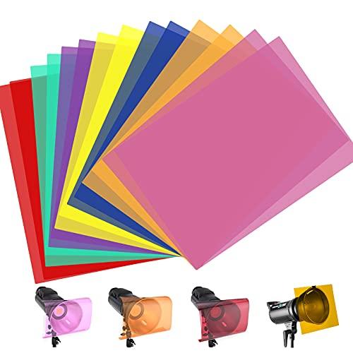 14 Piezas Filtro de Luz de Gel Filtro de Corrección de Color Filtro de Color de Iluminación para Flash Estroboscópico, Luz Video LED, 7 colores surtidos, 29.7 * 21 cm